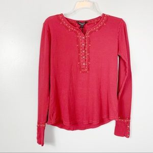 Lucky Brand NEW Red Thermal Long Sleeve Shirt Sz L